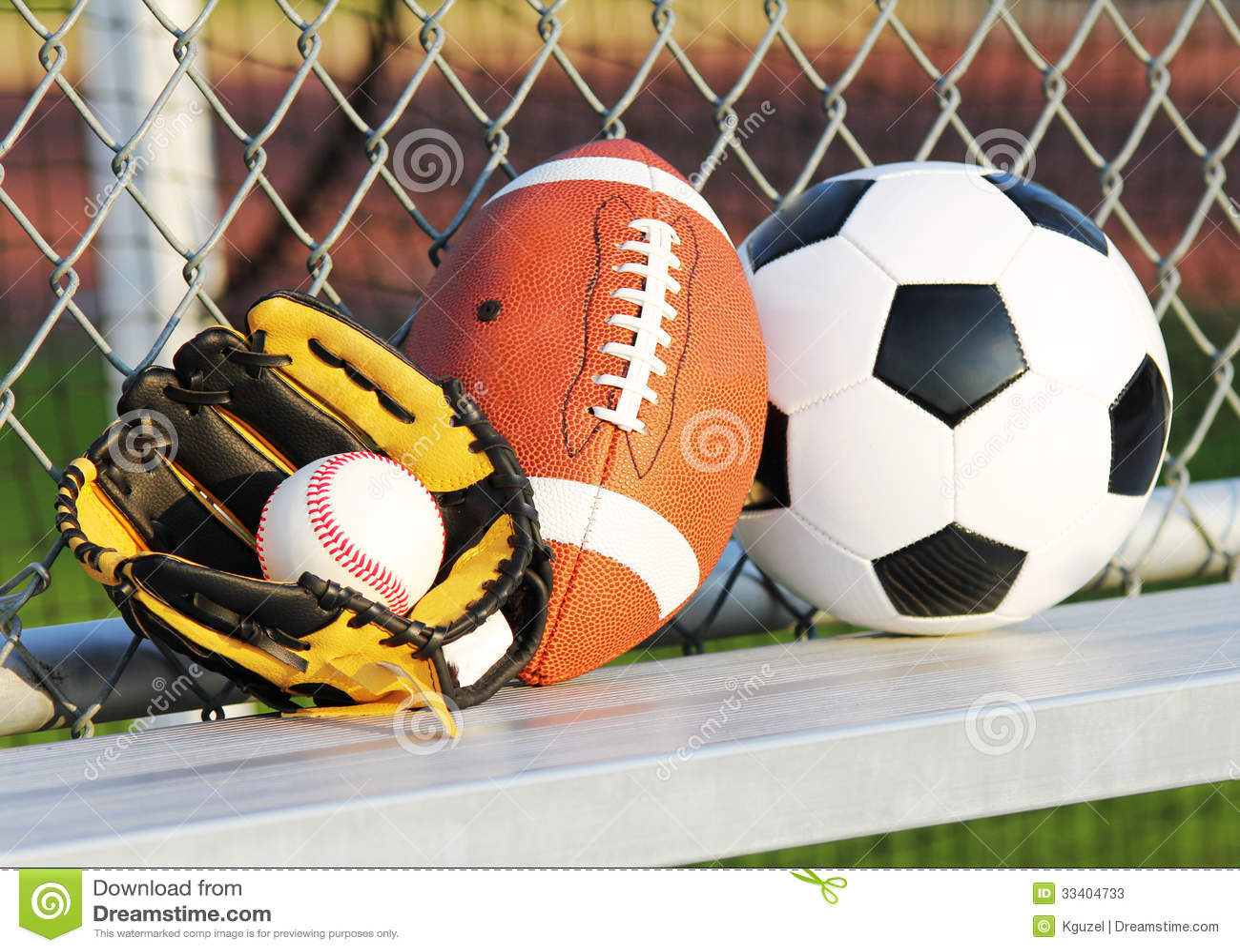 Sports Balls. Soccer Ball, American Football And Baseball ...