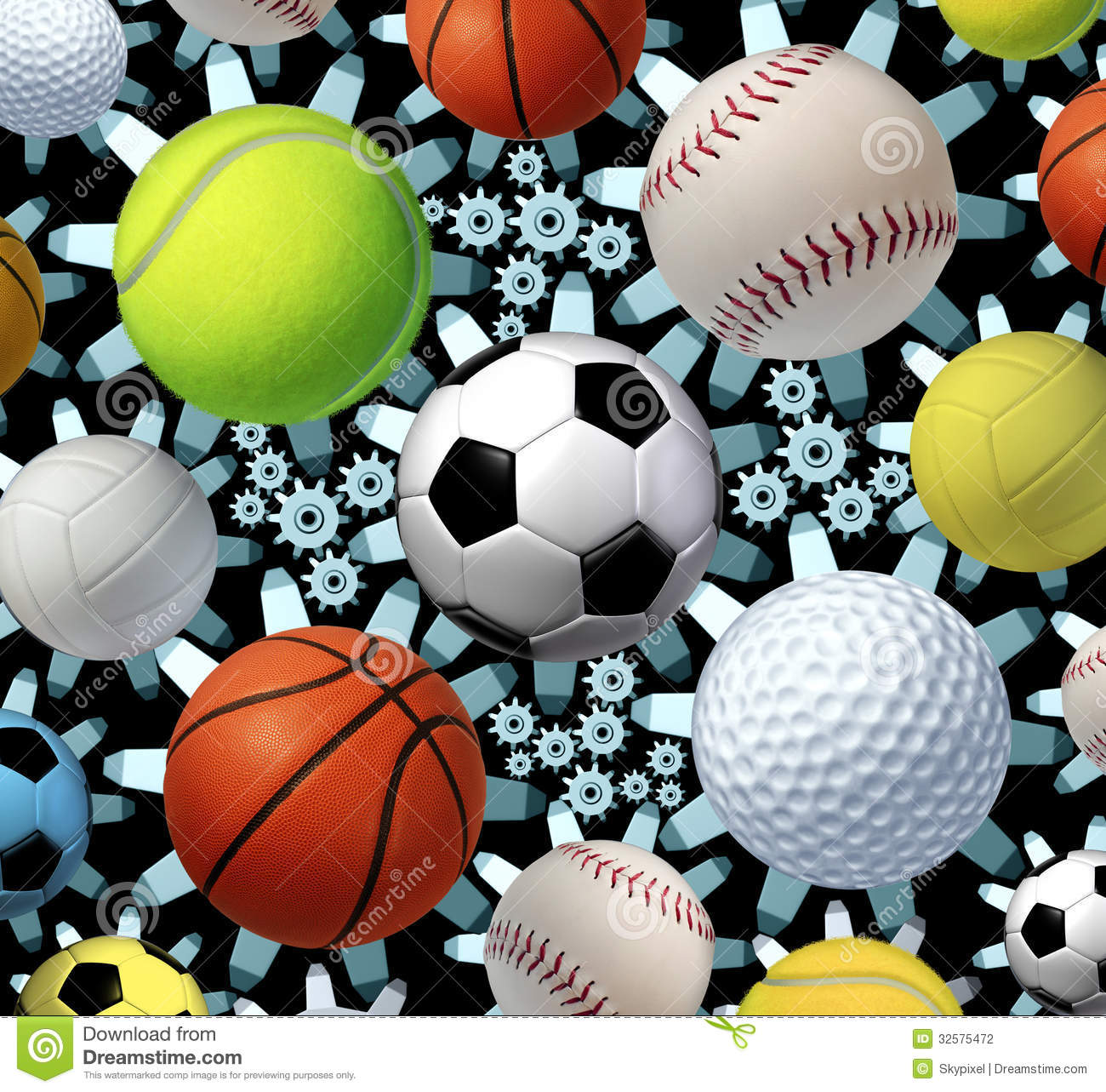 Sports business concept and sporting industry with a group of sport ...