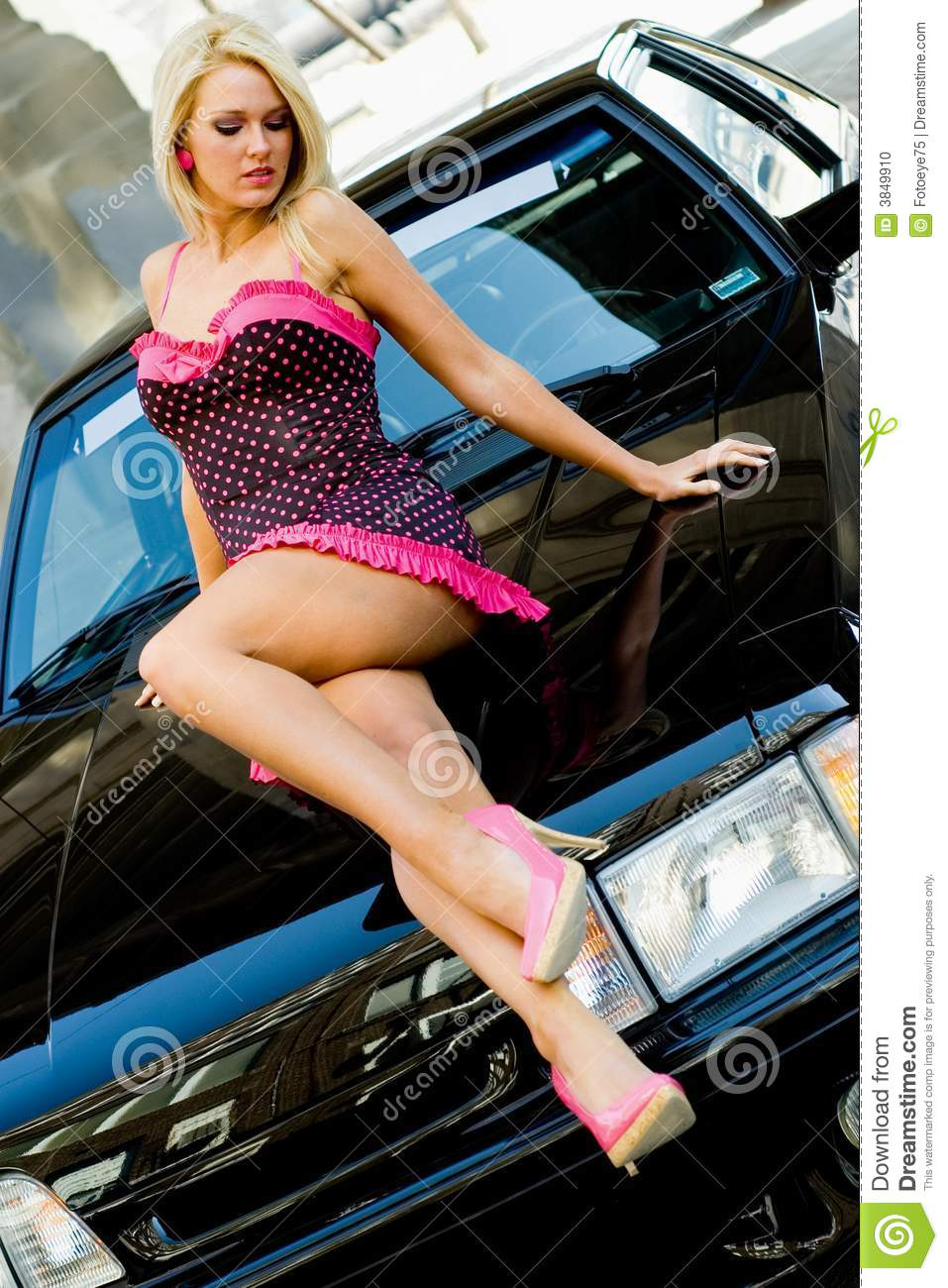 Sports Car Girl Blonde Royalty Free Stock Photography