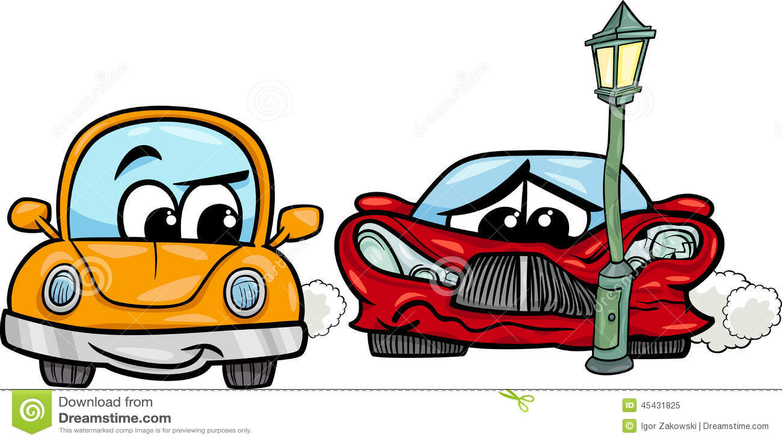 Funny car accident cartoon