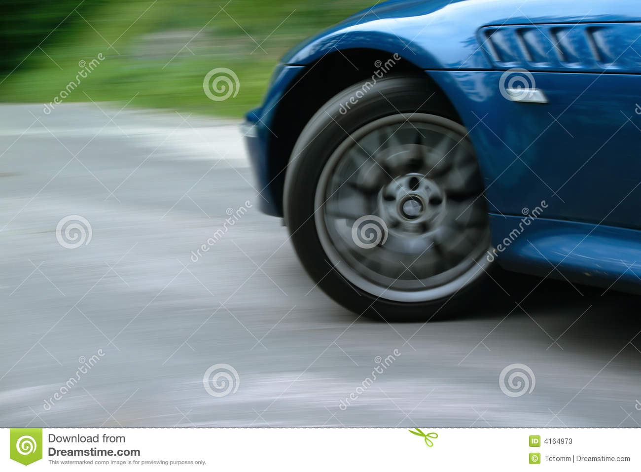 Sports Car Front Wheel Spinning And Turning Stock Image