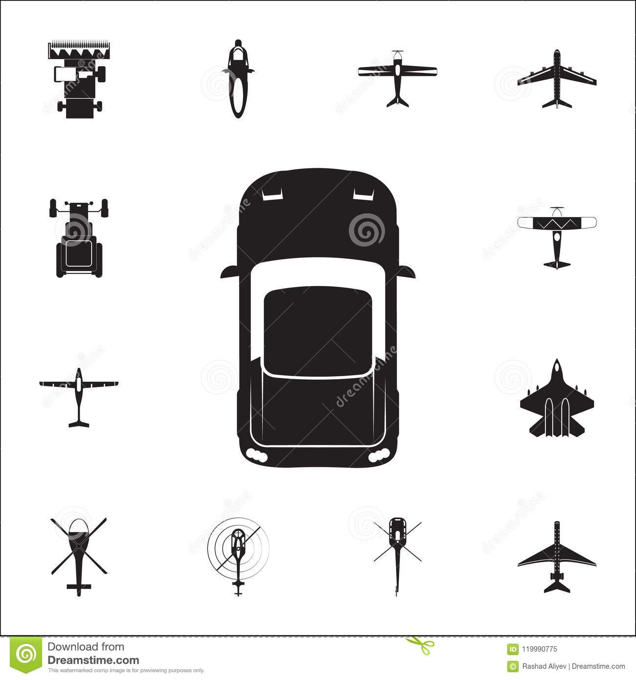 Sports Car Icon Detailed Set Of Transport View From Above Icons