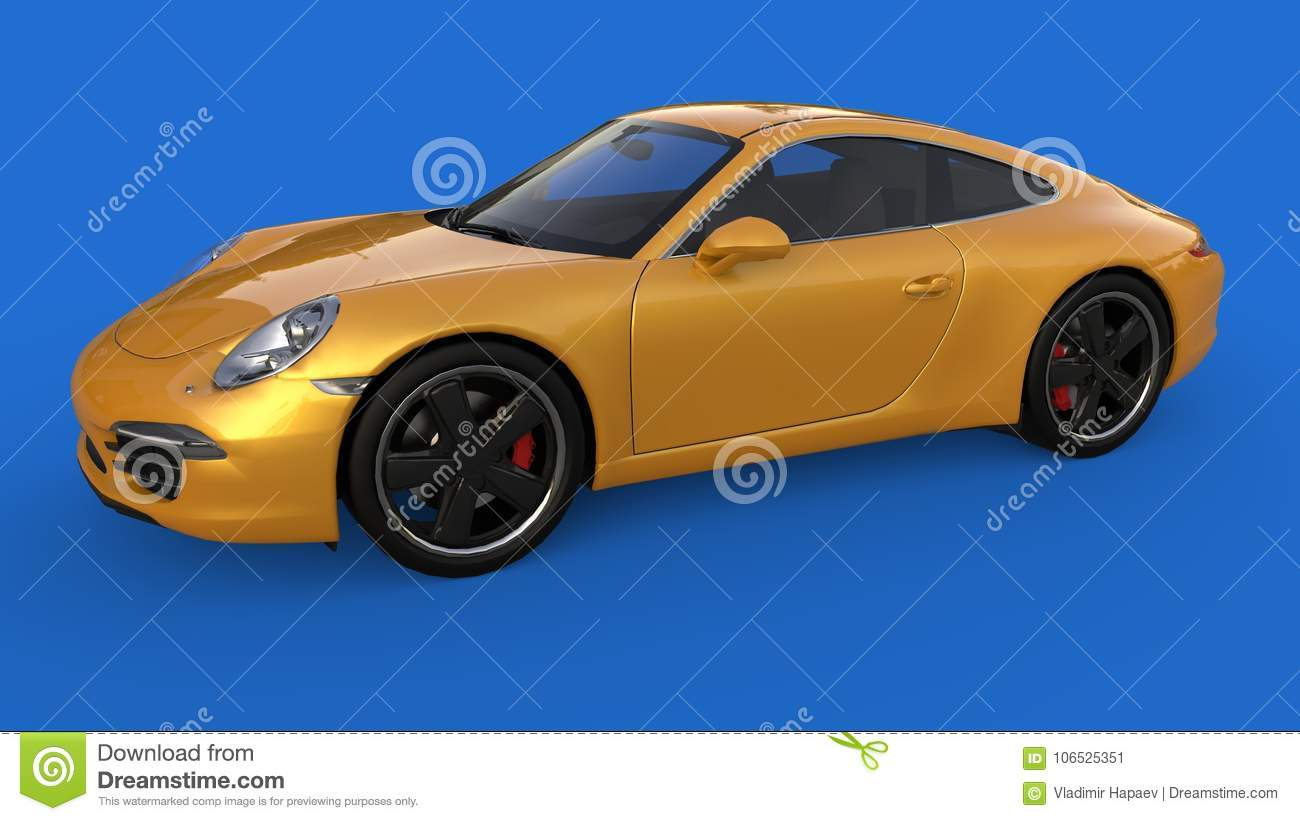 Sports Car The Image Of A Sports Yellow Car On A Blue Background