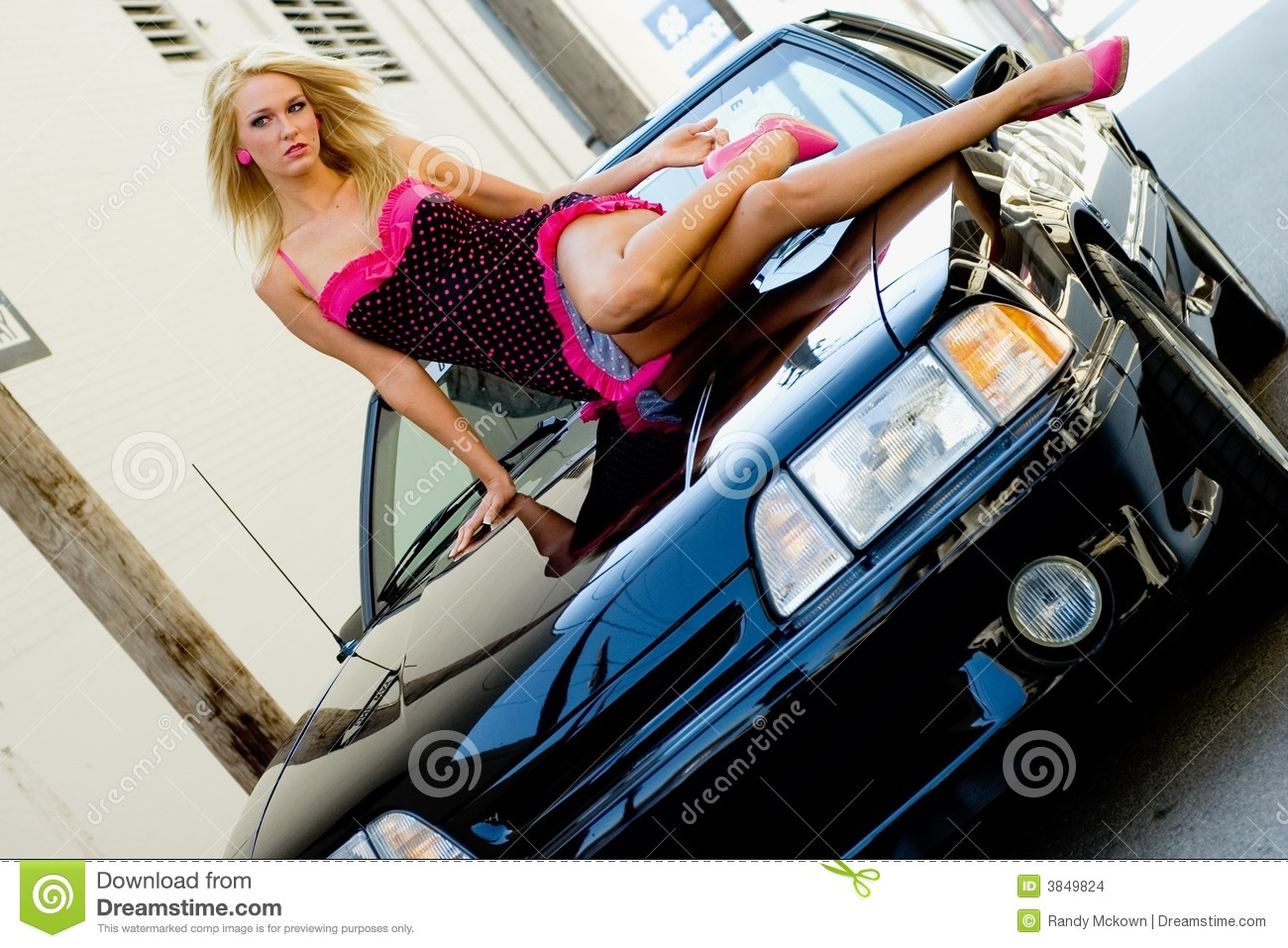 Nude girl with sports car the