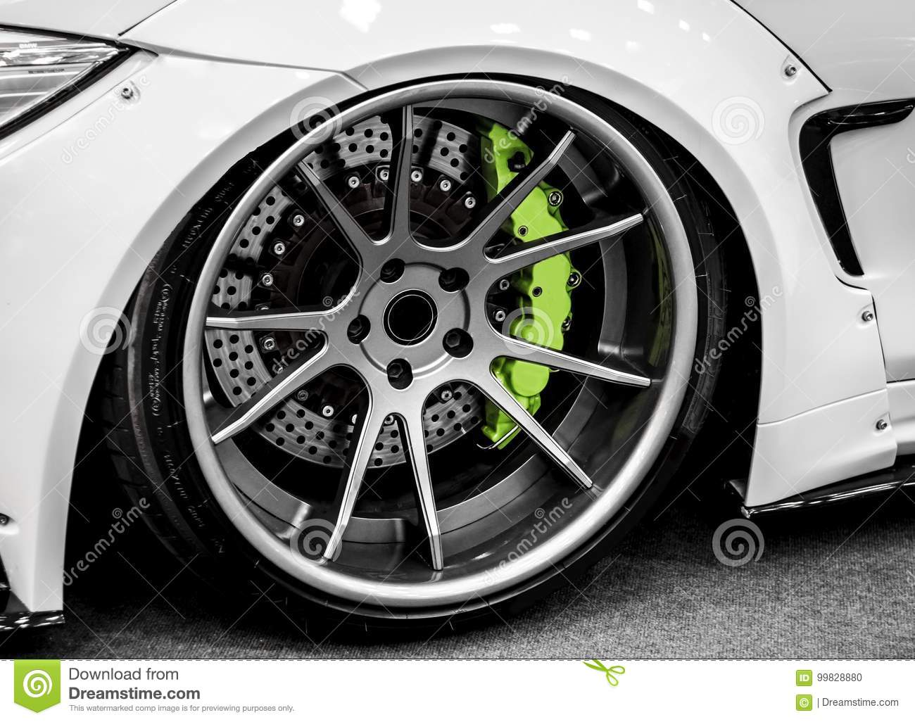 Sports Car Wheel Stock Photo Image Of Race Tyre Aluminium 99828880