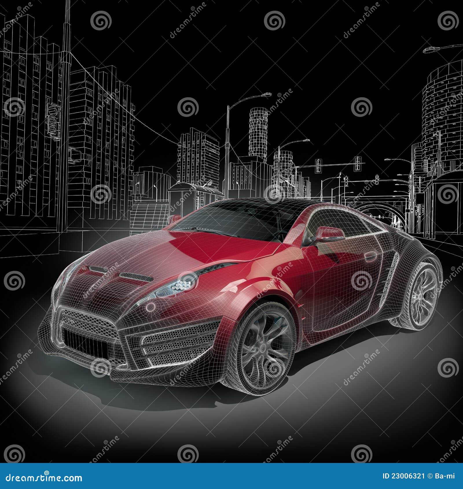sports car wireframe stock illustration image of prototype 23006321. Black Bedroom Furniture Sets. Home Design Ideas