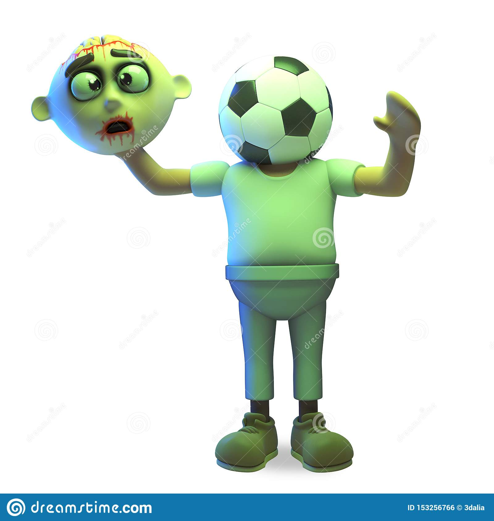 Dessin Halloween Zombie.Sports Crazy Halloween Zombie Monster Has Changed His Head For A Soccer Ball 3d Illustration Stock Illustration Illustration Of Cadaver Background 153256766