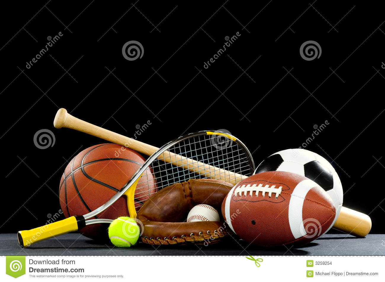 equipment sports football soccer baseball ball american dreamstime variety background tennis basketball bat lace including