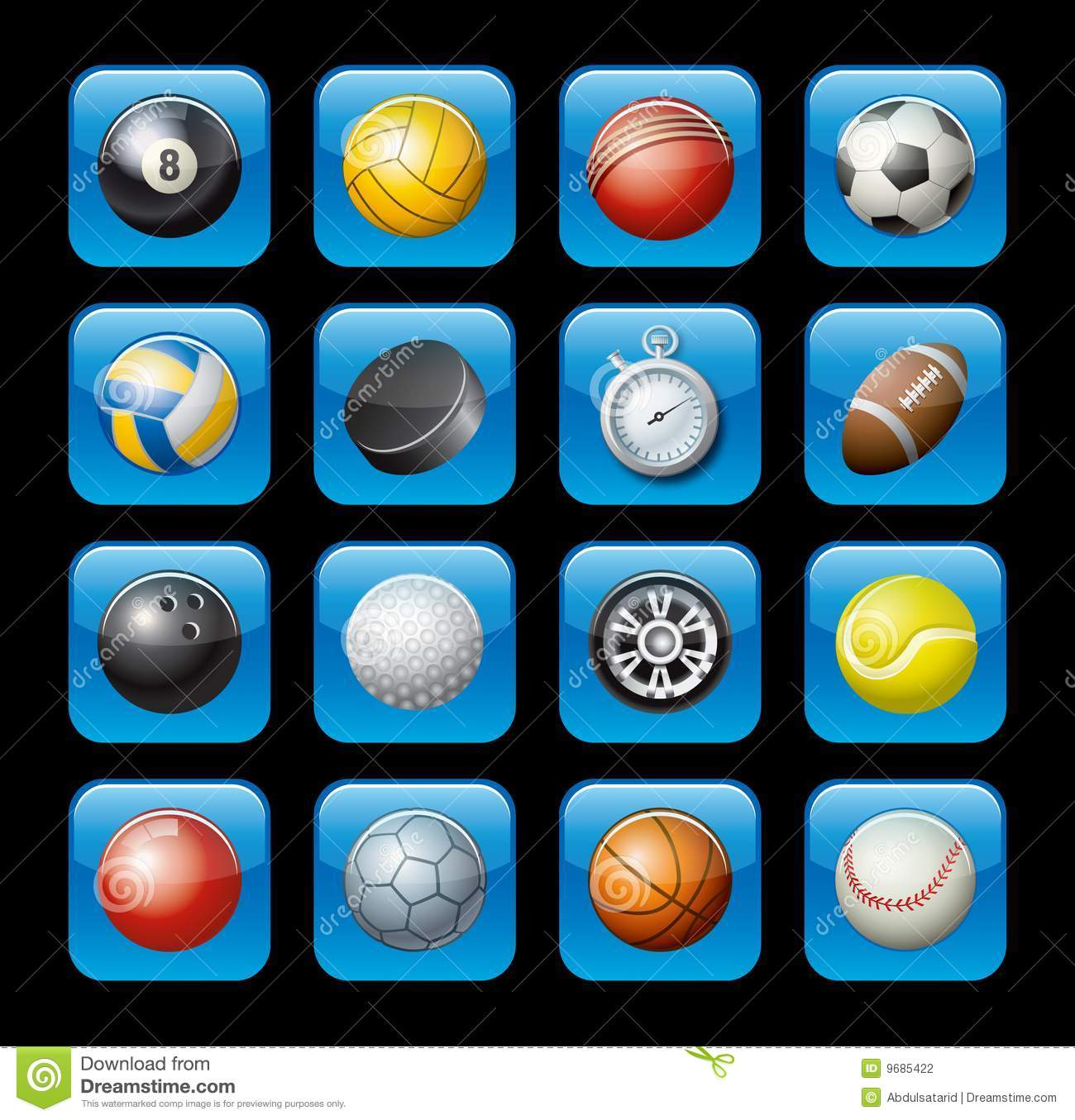Sports: Sports Equipment Icons Stock Photography