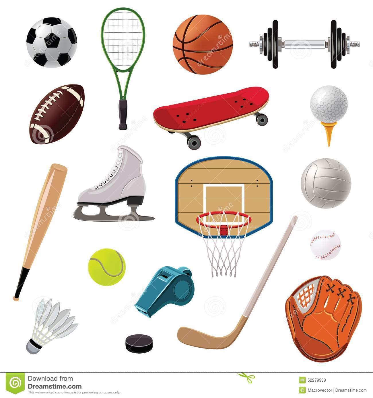 Decorative Sticks For The Home Sports Equipment Set Icons Vector Illustration