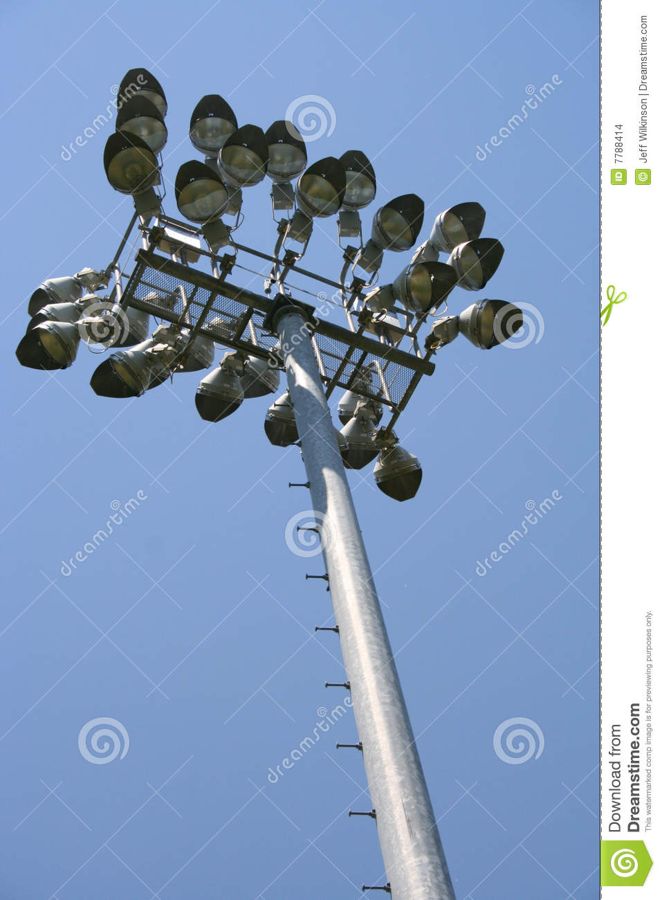 spotlights pole at sports field  royalty