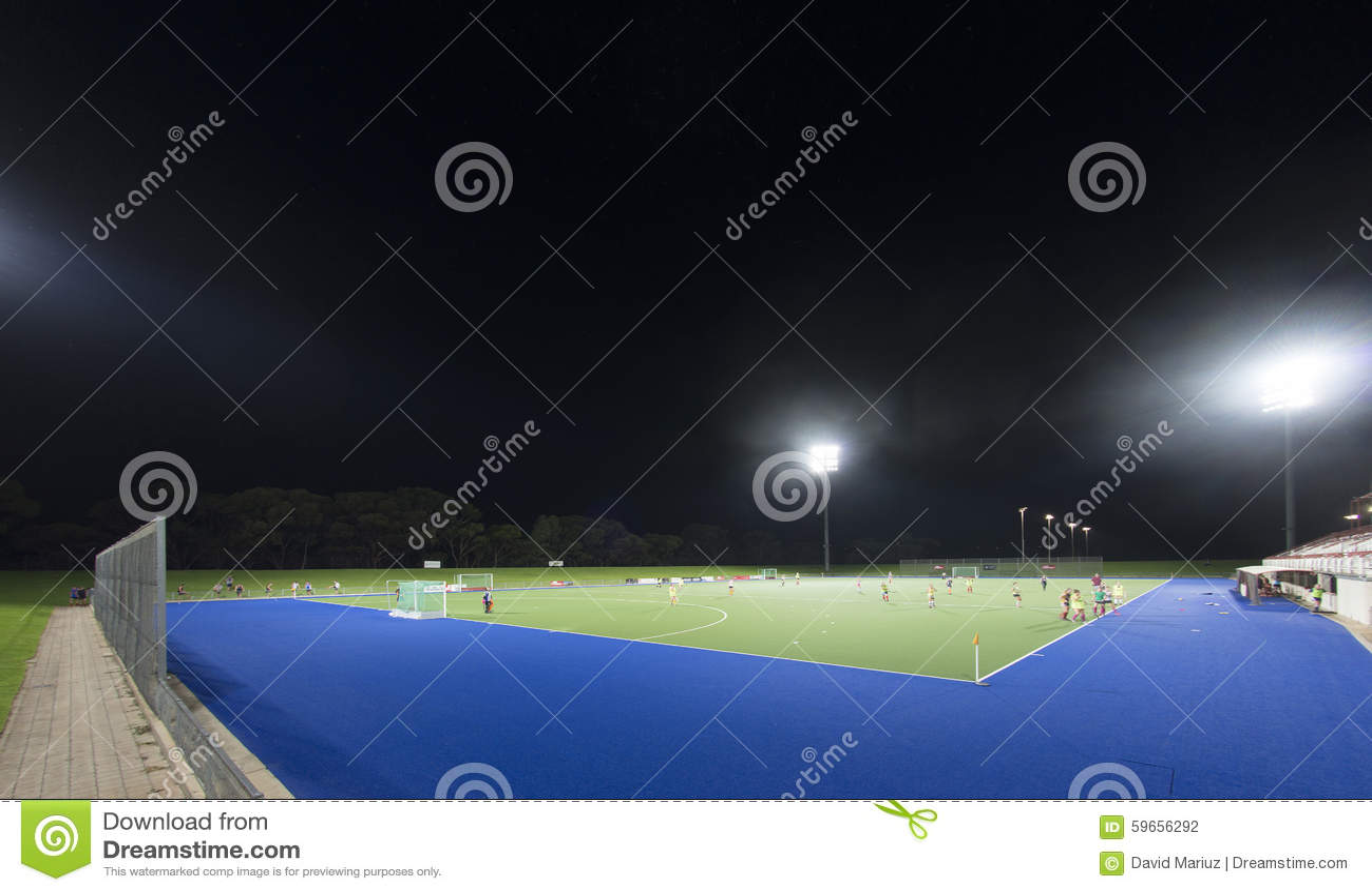 sports field at night stock photo