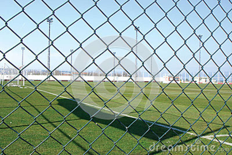 Sports field safety chain link fence stock photo image