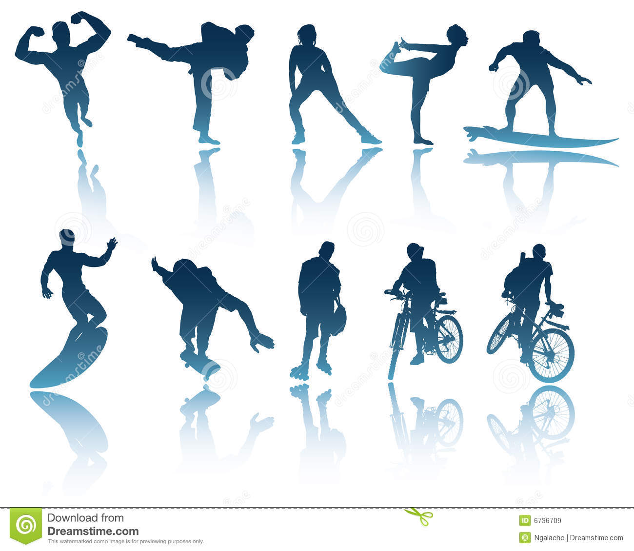 Sports: Sports & Fitness Silhouettes Stock Vector