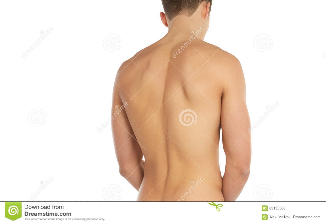 Sports and fitness topic: naked sporty man standing back isolated on a white background in the studio, human anatomy