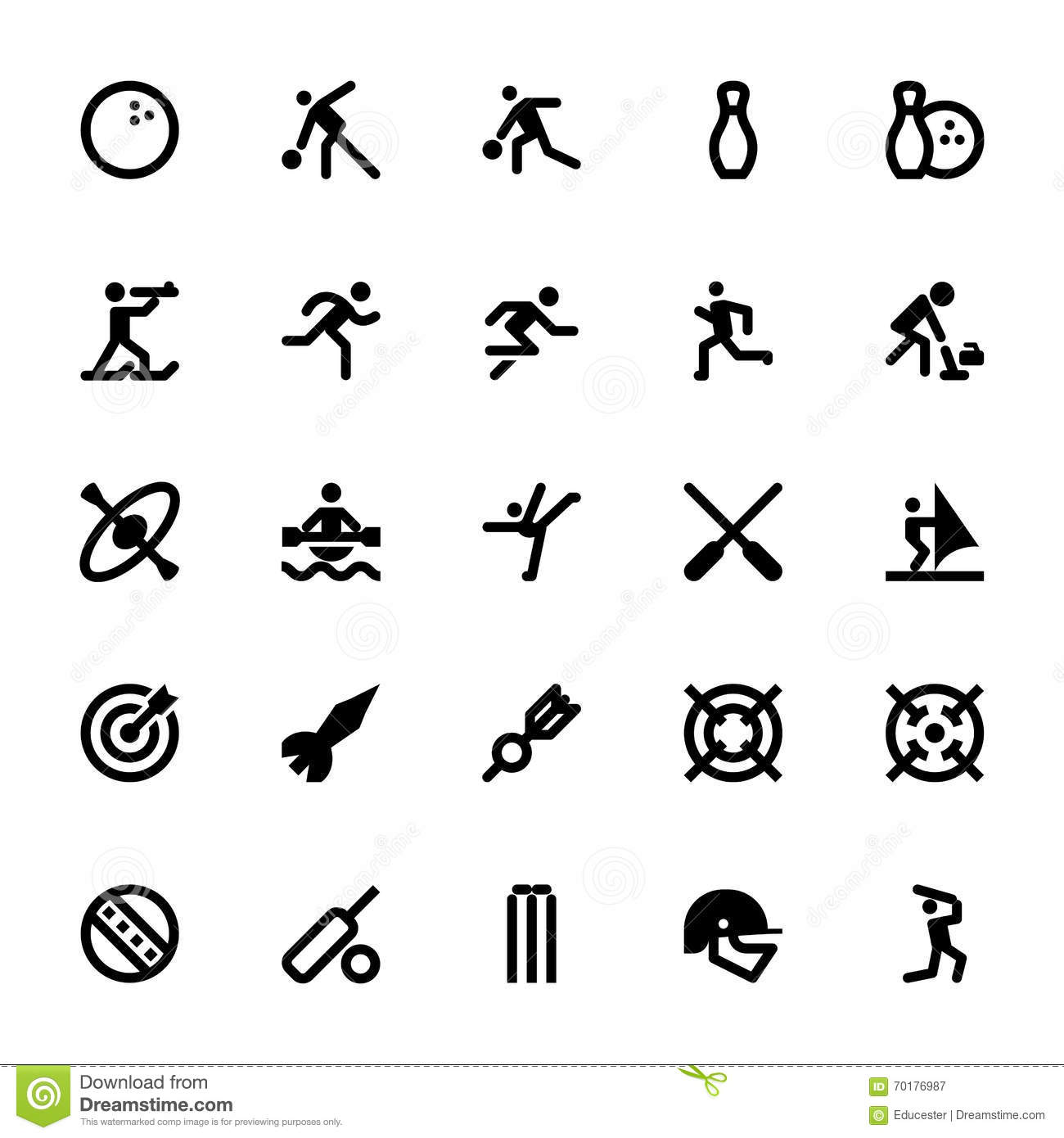 sports and games vector icons 8 stock illustration