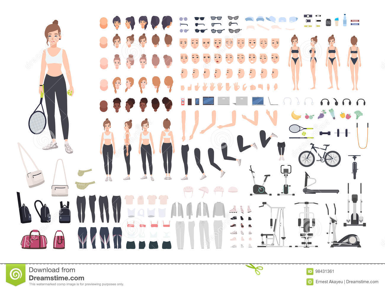 Sports girl character constructor. Fitness woman creation set. Different postures, hairstyle, face, legs, hands