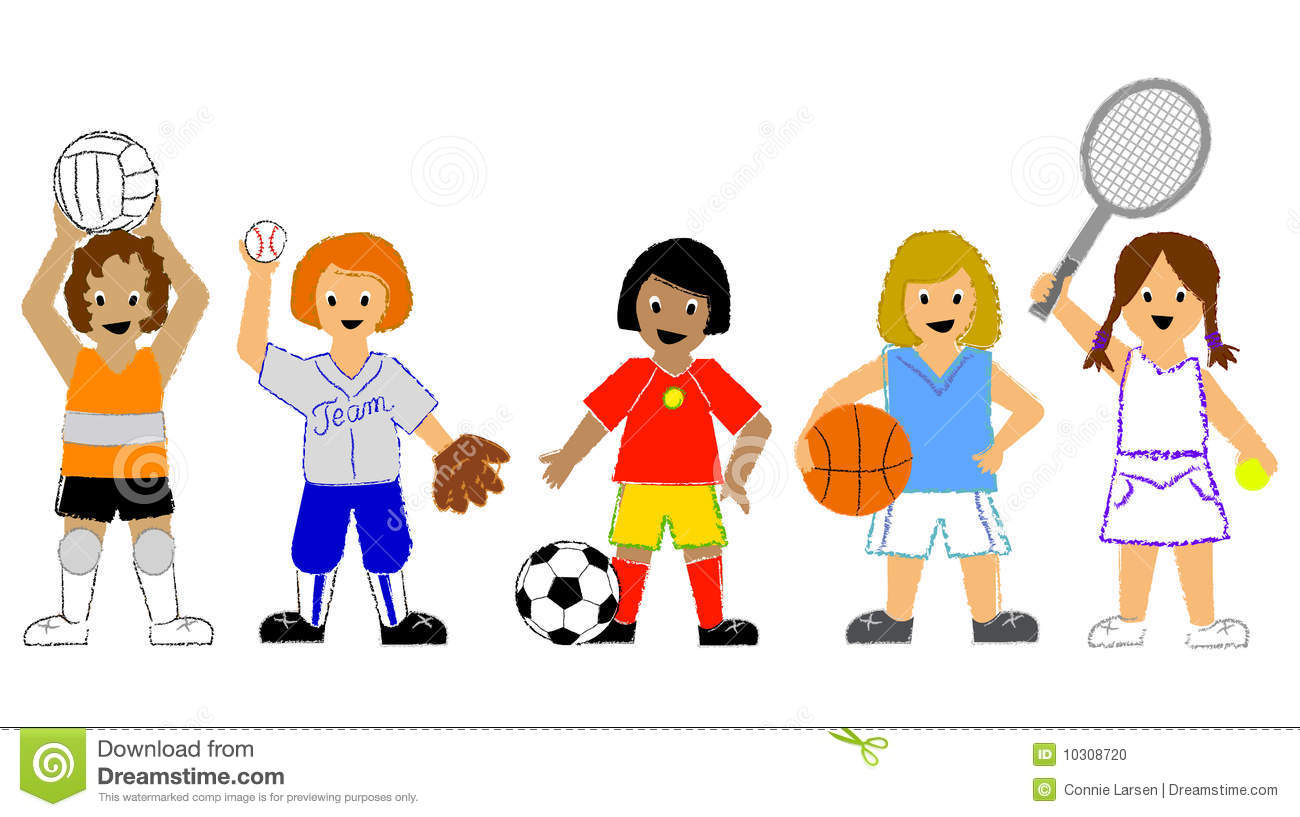 Youth Sports Clip Art: Sports Girls Stock Illustration. Illustration Of Child