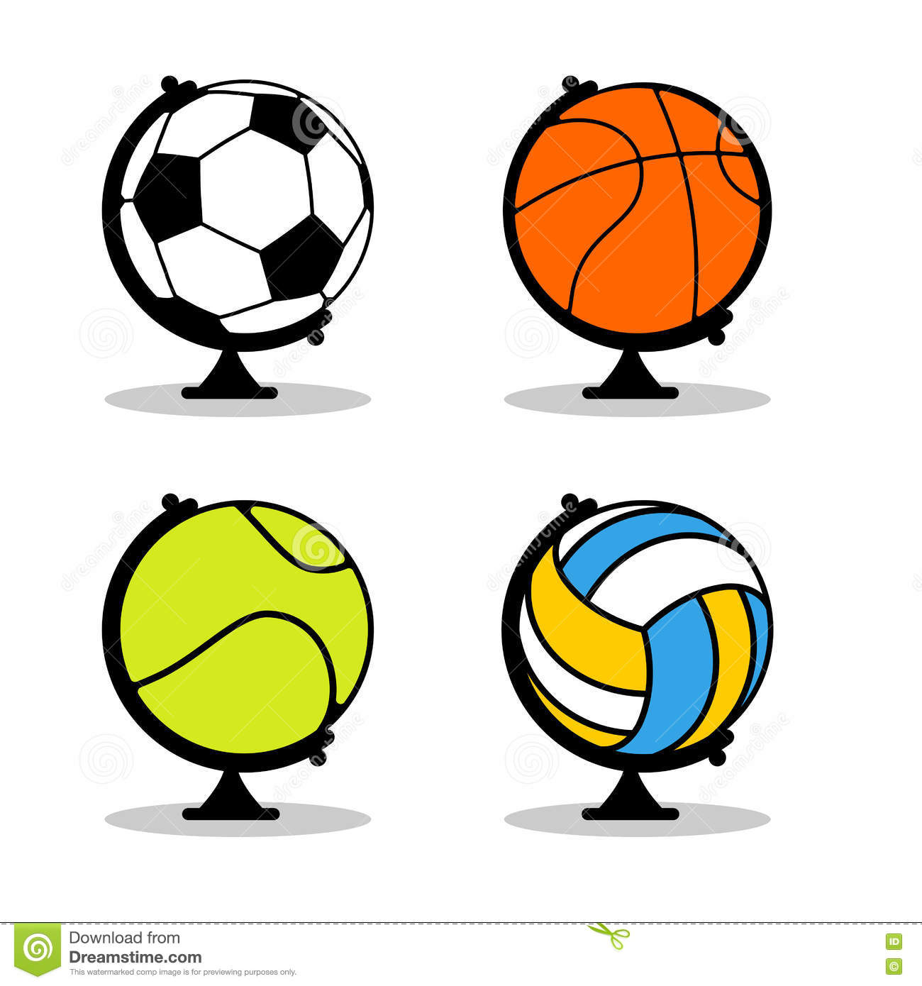 World map volleyball ball stock illustrations 19 world map balls in earth sphere basketball and football tennis and volleyball gumiabroncs Images