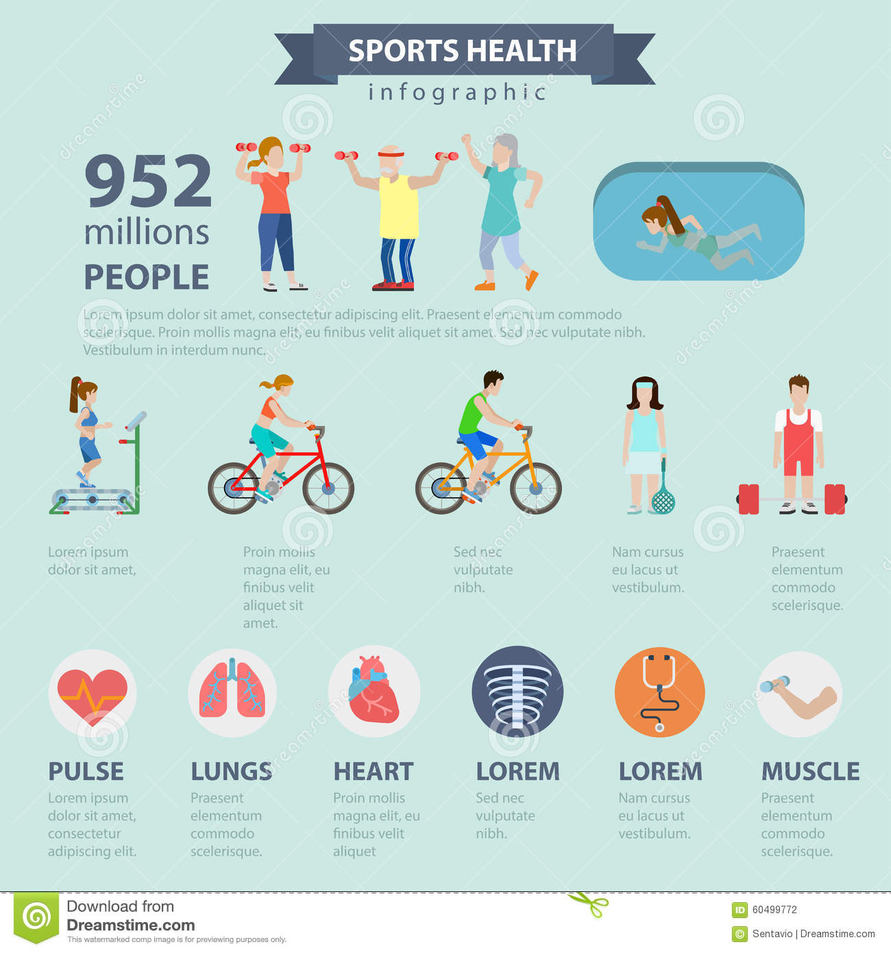 Sports Health Healthy Lifestyle Vector Flat Infographics ...
