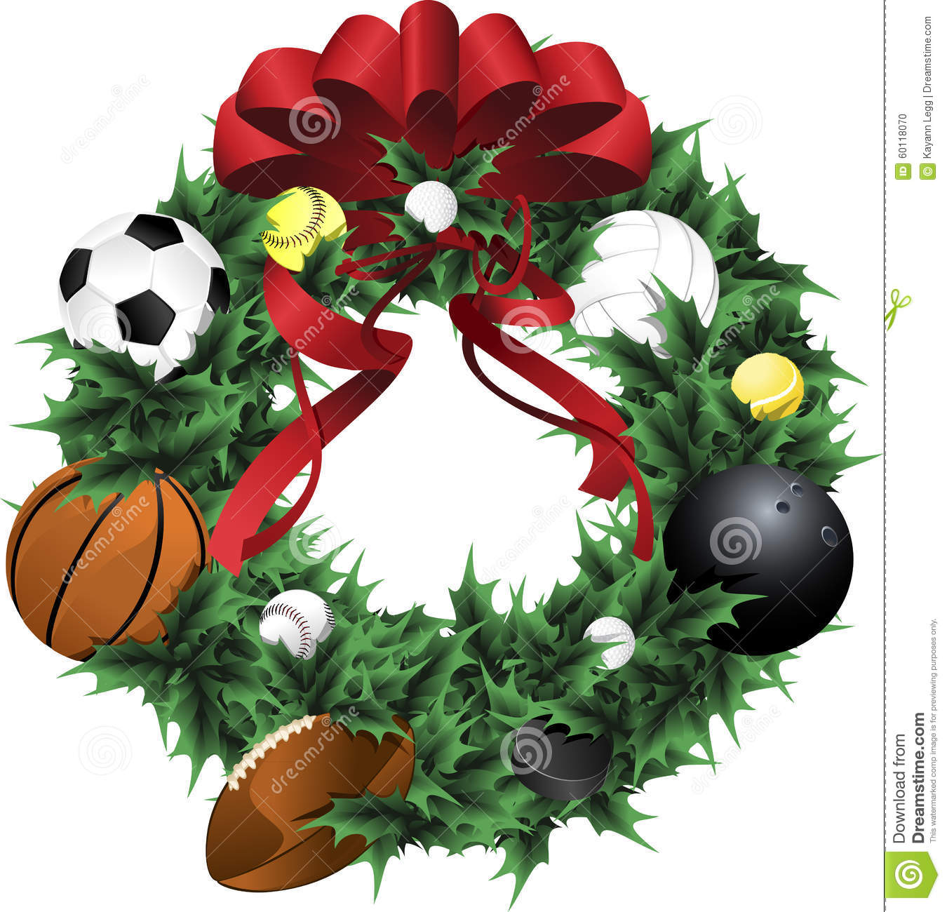 Sports holiday wreath stock vector image of sport