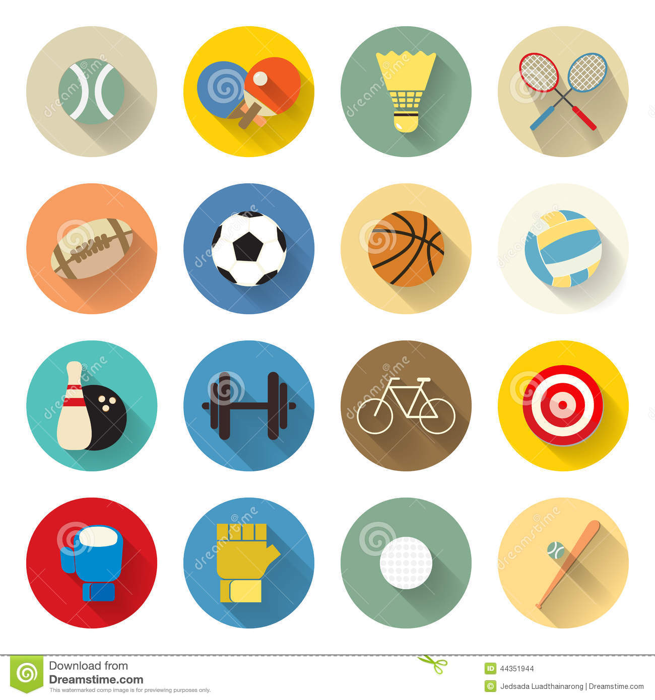 Sports Icons Set Flat Design With Long Shadow Stock Vector