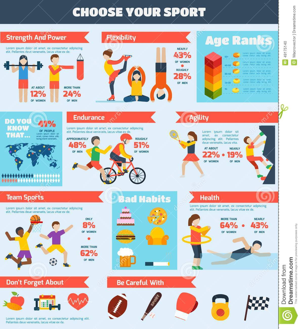 Sports infographics set with people training healthy physical activity ...