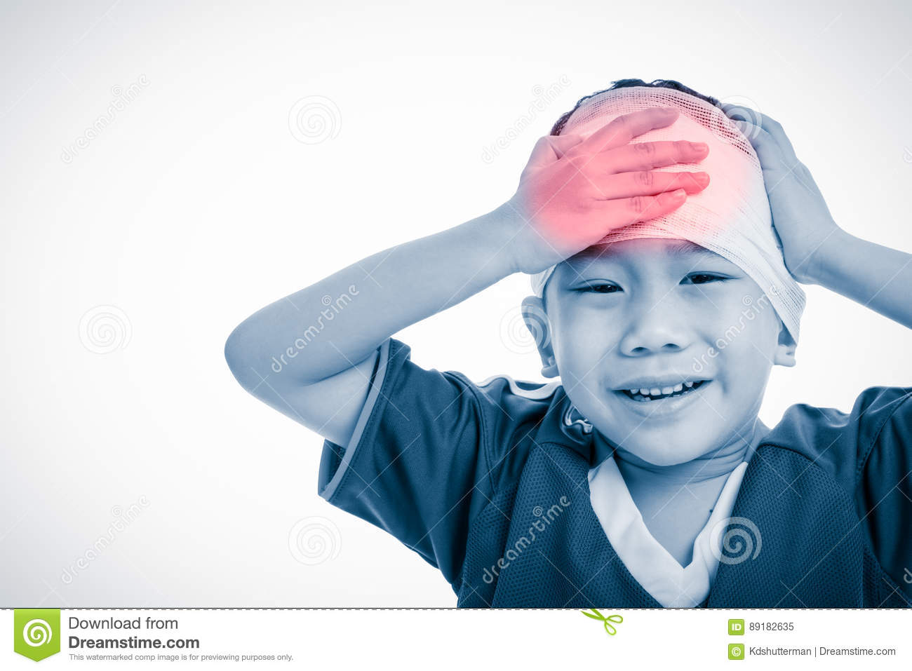 Sports injury. Asian child with trauma of the head painful crying. Isolated on white.