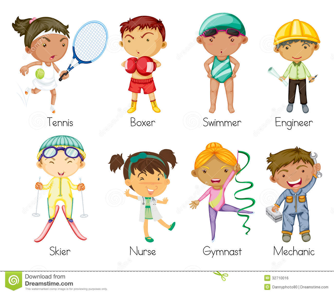 Illustration of various sports kids on a white background.
