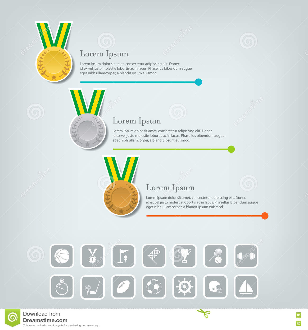 Sports Medal And Award Concept Champions Or Winners Icons