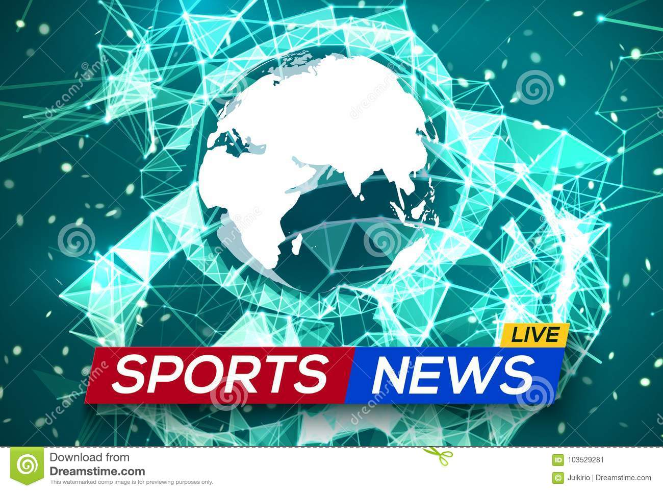 Sports News Live With World Map Africa And Europe Stock Vector