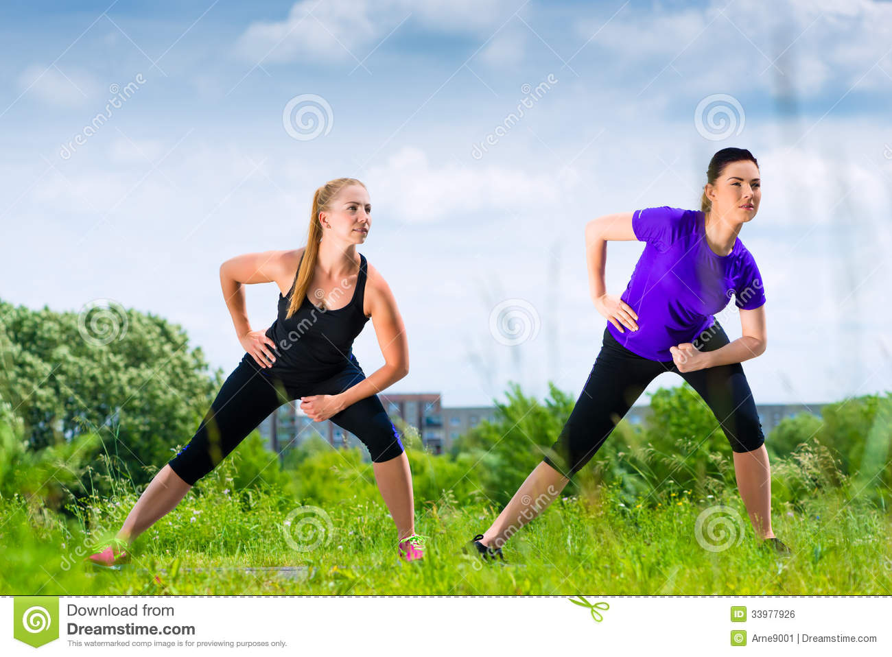 sports outdoor young doing fitness summer park running together warming exercise greenfield urban before confidence preview
