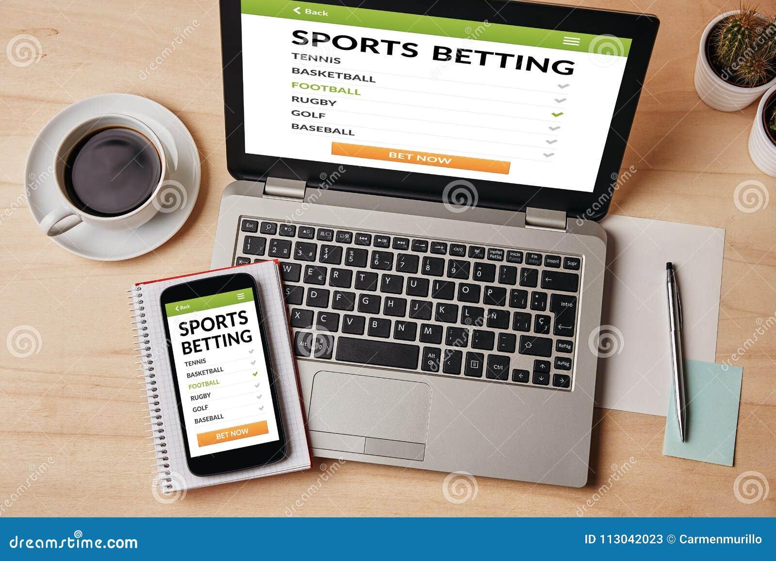 Sports pariant le concept sur l écran d ordinateur portable et de smartphone