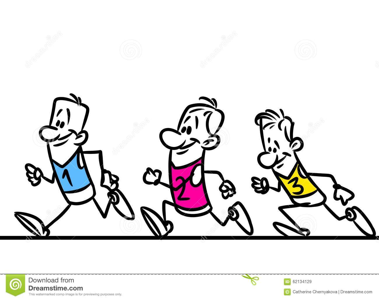 Sports Running Marathon cartoon illustration funny character.