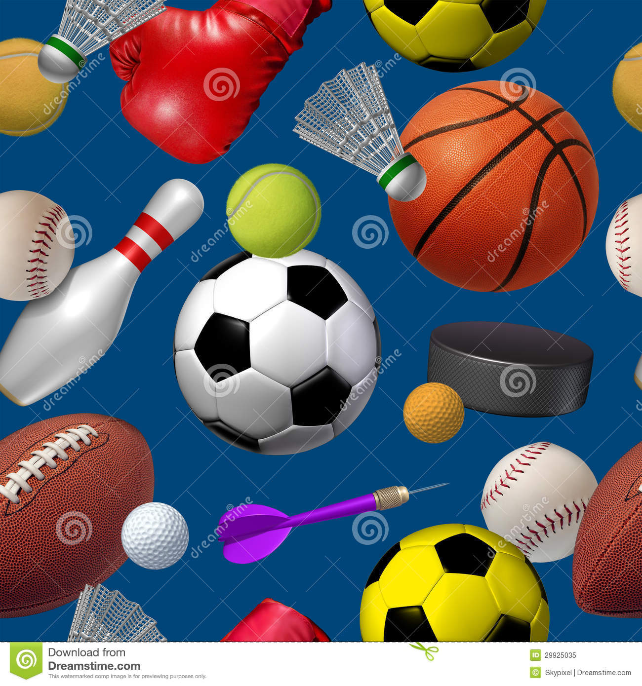 Sports Seamless Pattern Stock Illustration. Image Of