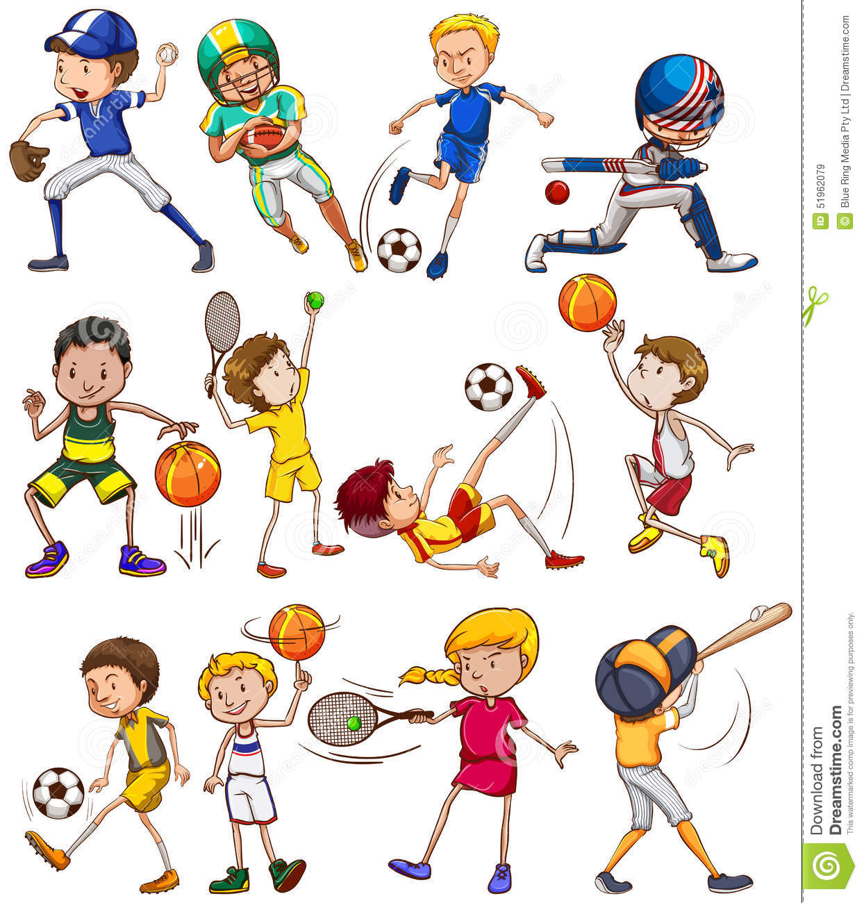 sports different kinds children playing exercise preview vector