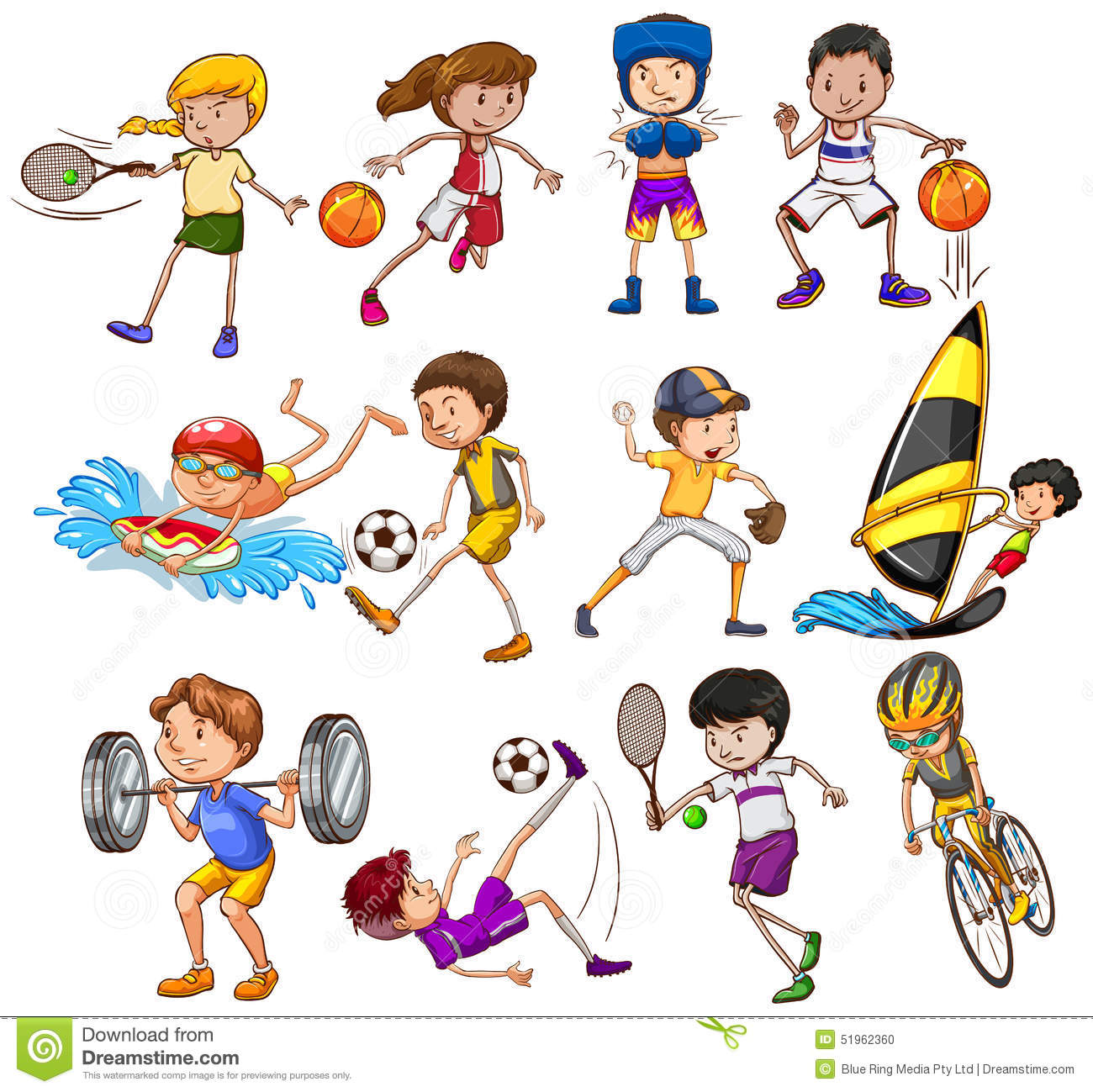 sports different children kinds playing exercise clipart illustration vector dreamstime athlete preview academy development