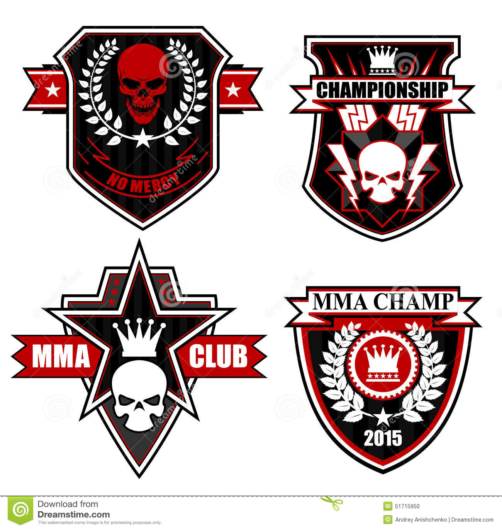 Sports Shield Emblem Graphic Set Stock Vector