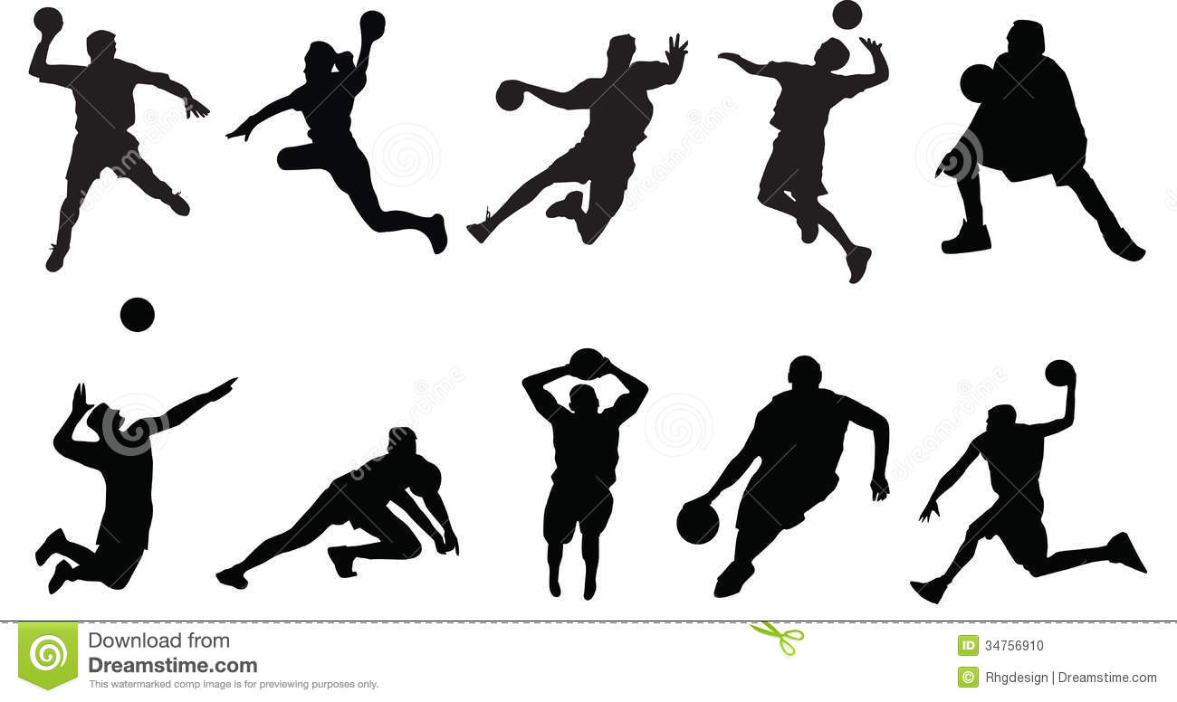 Sports Silhouette Basketball Volleyball Stock Vector