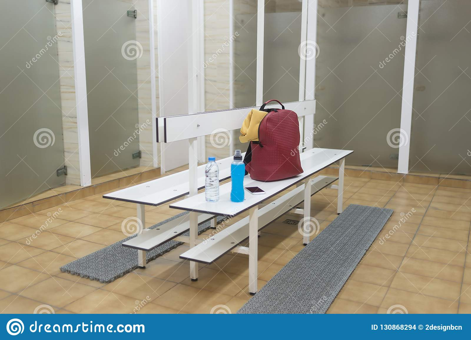 Awesome Sports Supplies On A Wooden Bench In A Gym Locker Room Stock Machost Co Dining Chair Design Ideas Machostcouk