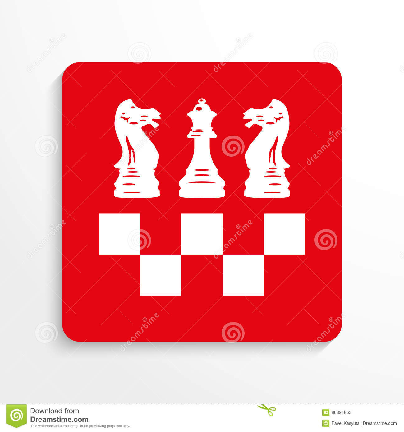 Sports Symbols Chess Vector Icon Red And White Image On A Light