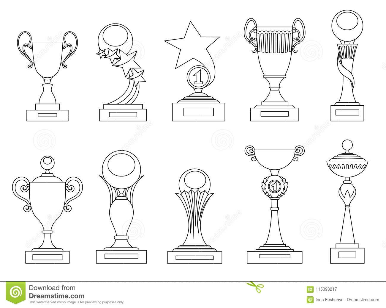Sports Trophies And Awards Silhouettes Set For Design Such