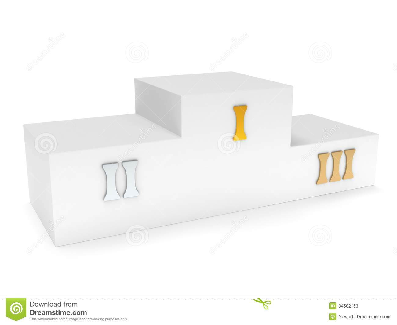 Sports Winner Podium Isolated On White. 3d Render Stock Photos - Image ...