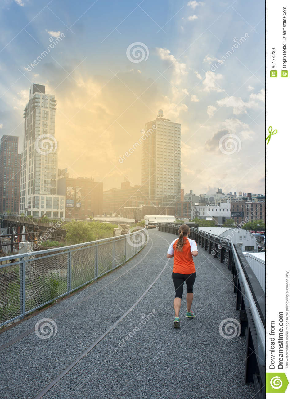 Sports Woman Running In The City Editorial Stock Image