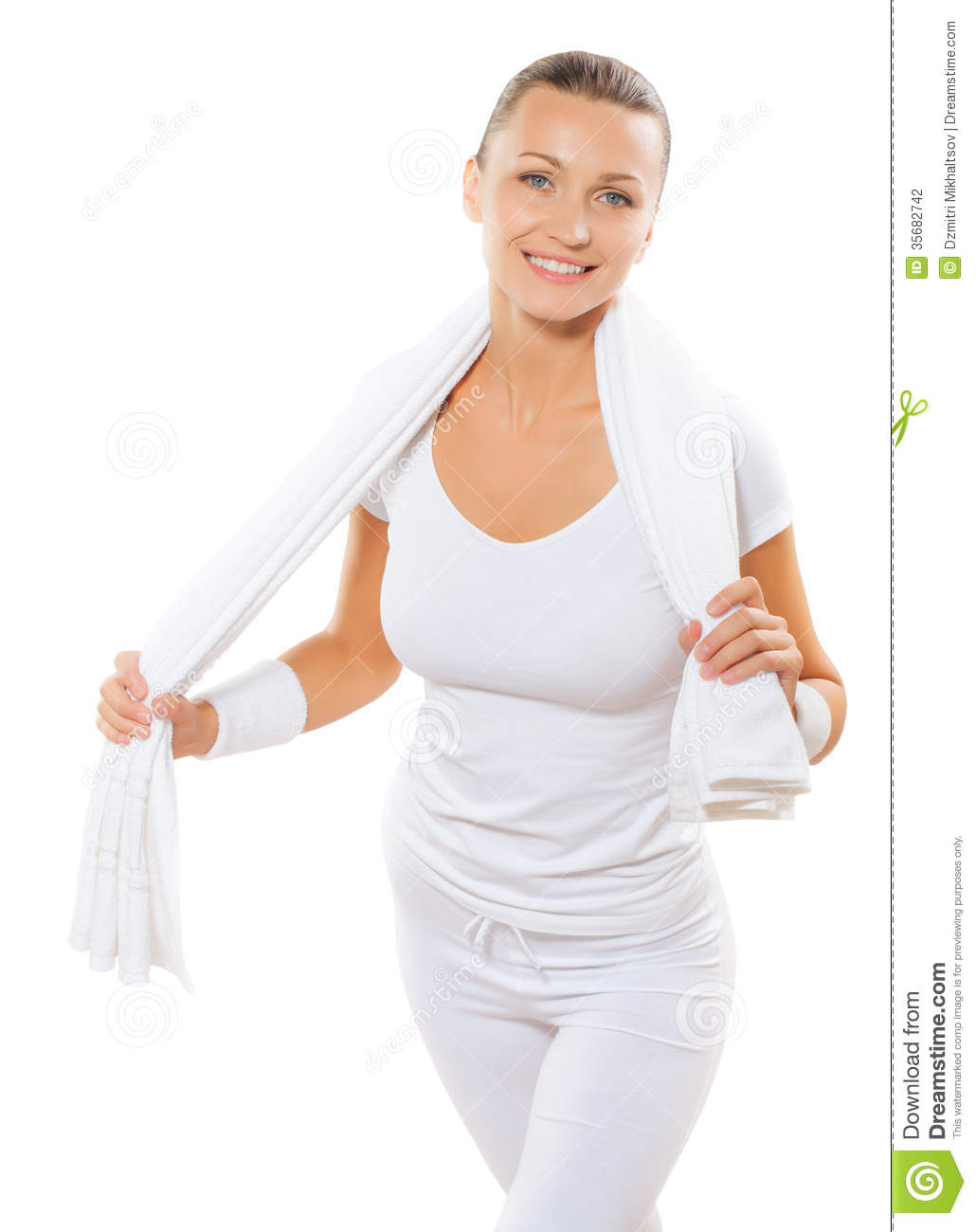 beautiful sports female wearing sports clothes isolated on white