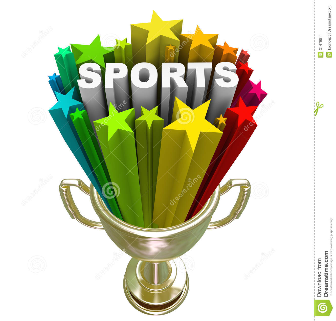 The word Sports in a starburst in a gold trophy to symbolize winning ...