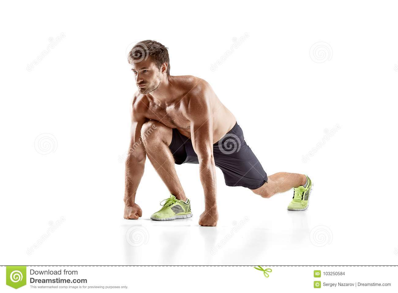 Sports Young Man Doing Push Ups Isolated On A White