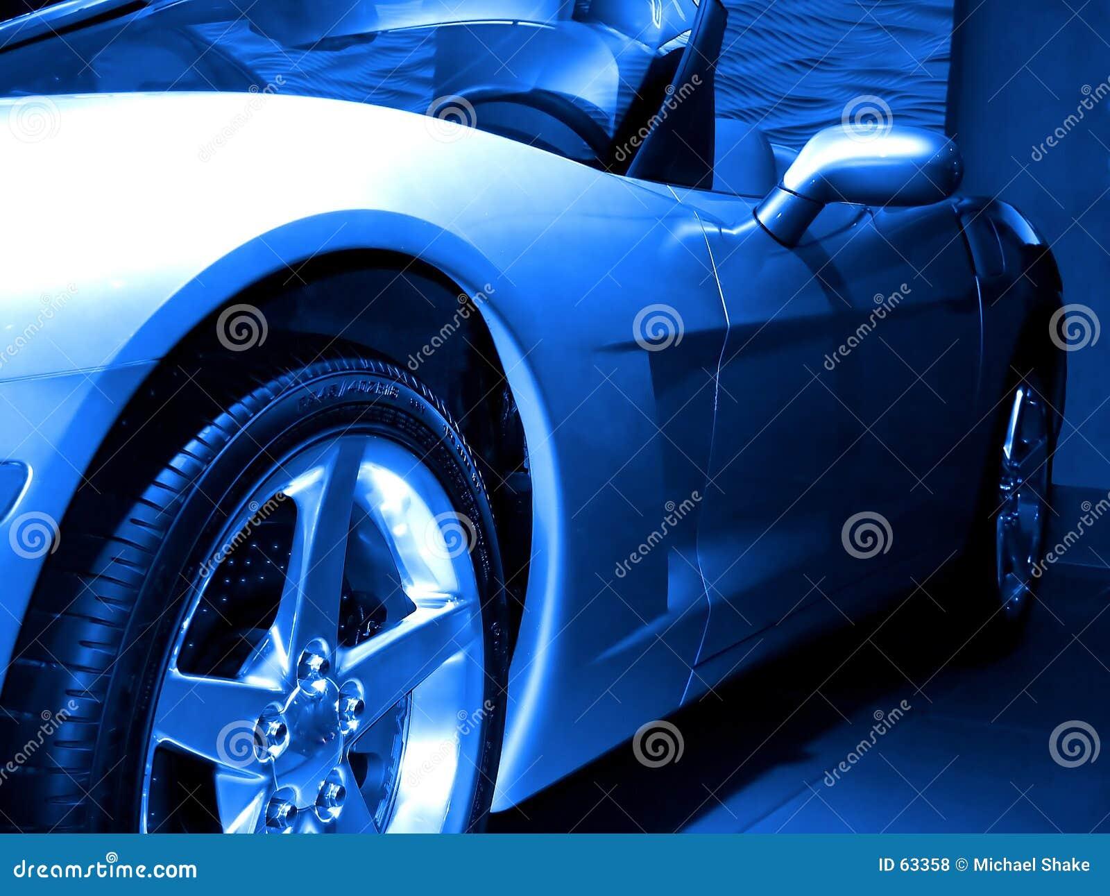 Sportscar blu astratto.