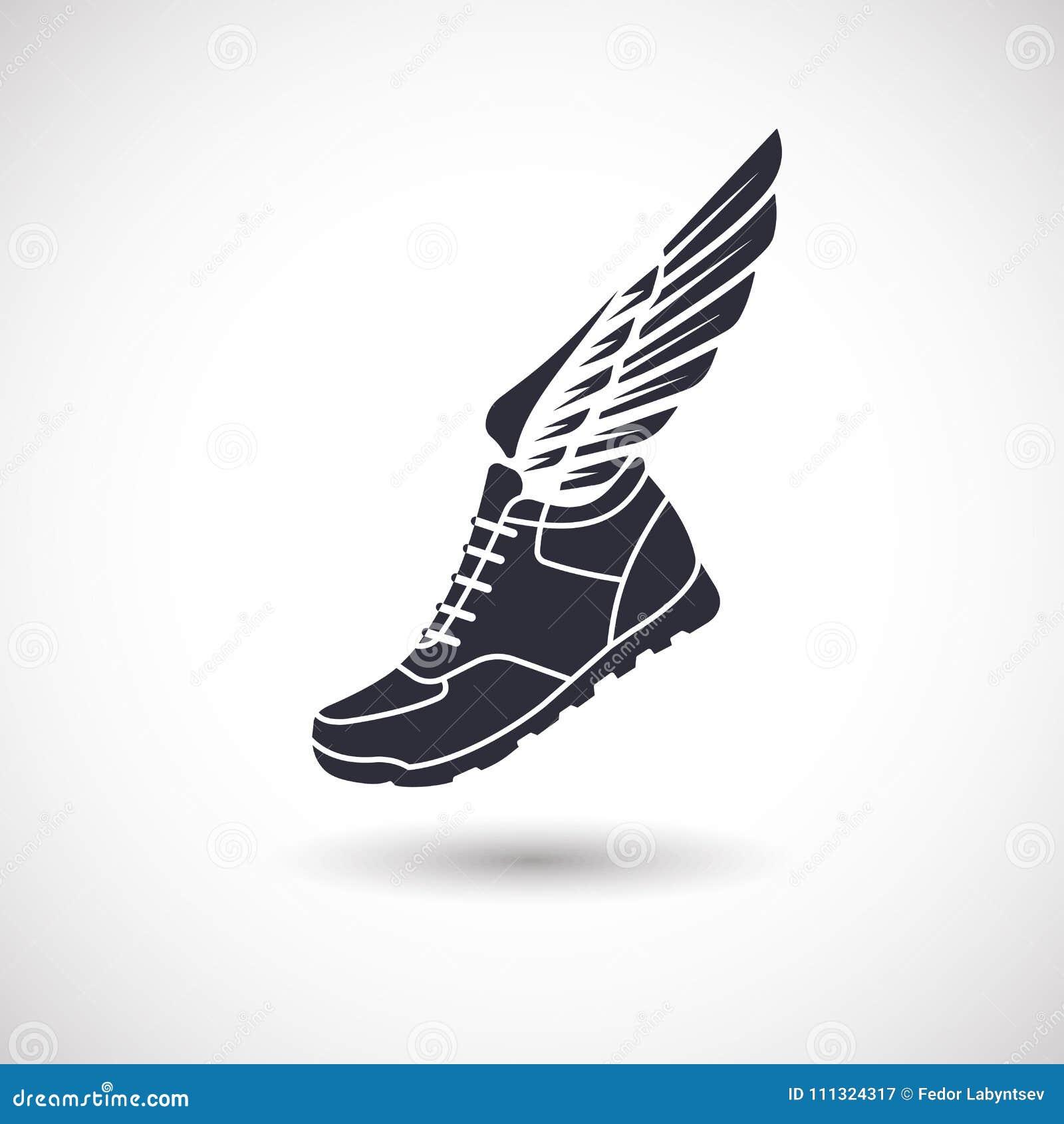 Sportschuhe mit Flügeln vektor abbildung. Illustration von