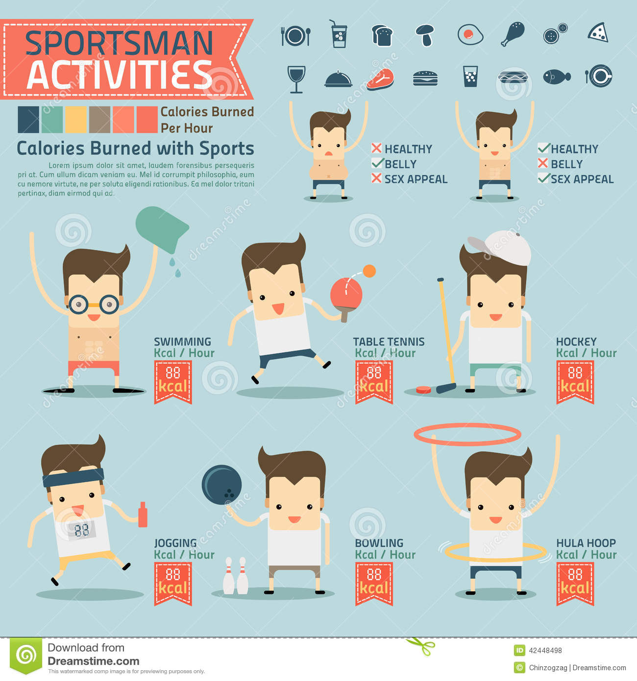Sportsman Activities And Calories Burned Infographics With